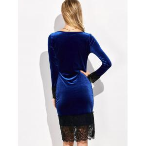 Lace Trim Velvet Long Sleeve Bodycon Dress - DEEP BLUE XL