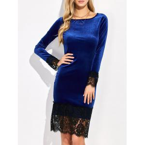 Lace Trim Velvet Long Sleeve Bodycon Dress - Deep Blue - S