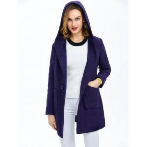 Hooded Single Breasted Coat With Pockets -