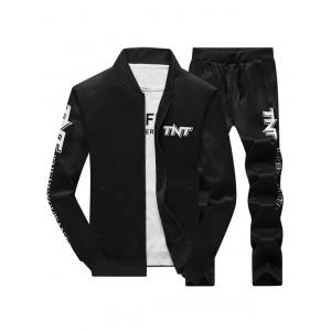 Zip Up Jacket and Drawstring Pants Tracksuit
