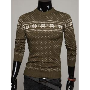 Crew Neck Graphic Christmas Sweater - Army Green - L