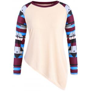Plus Size Striped Asymmetric T-Shirt