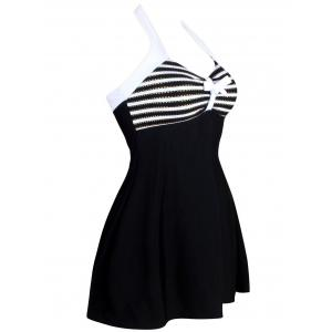 Halter Striped Swimwear - BLACK 3XL