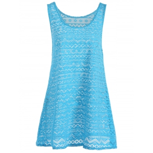Geometric See Through Mesh Swimsuit Beach Cover-Up - LAKE BLUE ONE SIZE(FIT SIZE XS TO M)