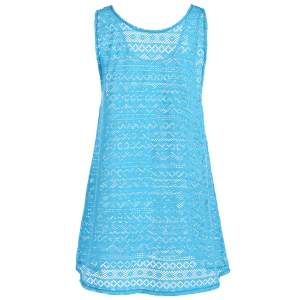 Geometric See Through Mesh Beach Cover-Up - LAKE BLUE ONE SIZE(FIT SIZE XS TO M)