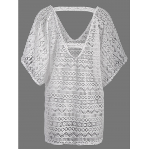 Low Back Mesh Bathing Suit Cover-Up - WHITE ONE SIZE