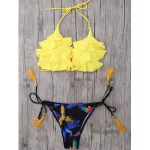 Halter Layered Ruffles Printed Bikini Set -