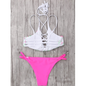 Cami Lace-Up Cutout Bikini Set - COLORMIX L