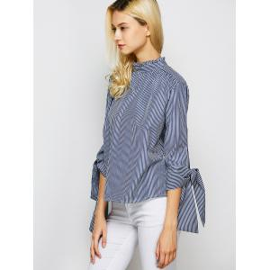 Stand Collar Back Single Brested Striped Shirt -