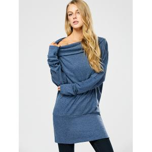 Long Sleeve Button Embellished Mini Dress - BLUE GRAY ONE SIZE