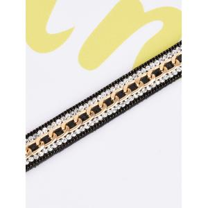 Artificial Leather Rhinestone Chain Choker Necklace -