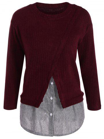 Plus Size Panel Layered Knit Sweater - Wine Red - 2xl