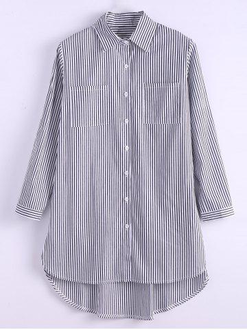 Outfits Plus Size Pinstripe Pocket High Low Shirt