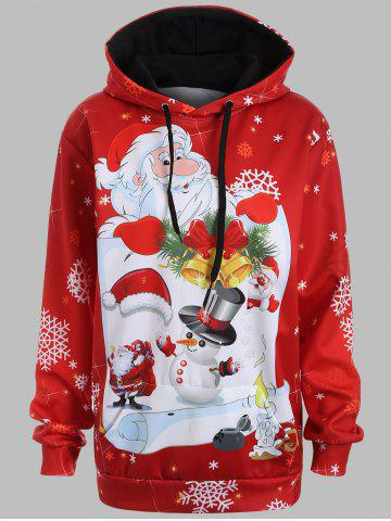 Fashion Santa Claus 3D Print Christmas Snowflake Hoodie RED L