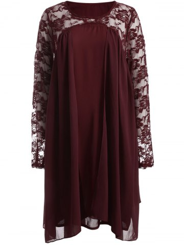Plus Size Long Sleeve Lace Insert Shift Dress - Red - 3xl