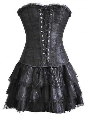 Online Flounced Lace Up Training Corset Top and Layered Skirt