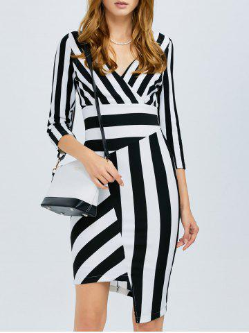 Hot Striped Asymmetrical Fitted Dress