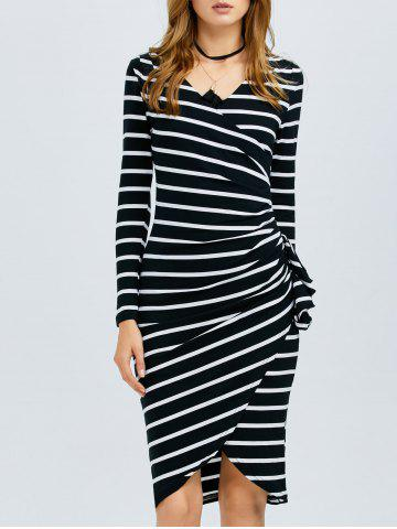 Store Striped Long Sleeve Knee Length Tight Dress BLACK L