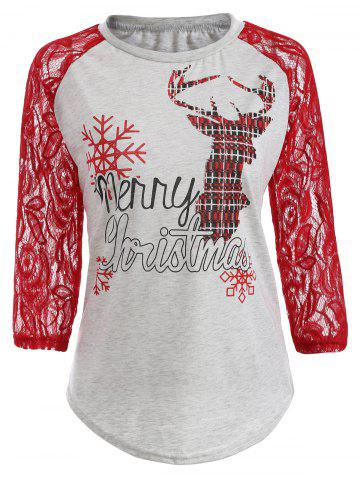 Unique Lace Insert Christmas Deer Snowflake Tee LIGHT GRAY XL