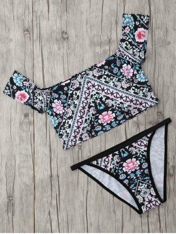 Discount Ethnic Floral Crop Top Two Piece Swimwear