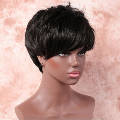 Unique Handsome Short Fluffy Side Bang Straight Heat Resistant Fiber Wig