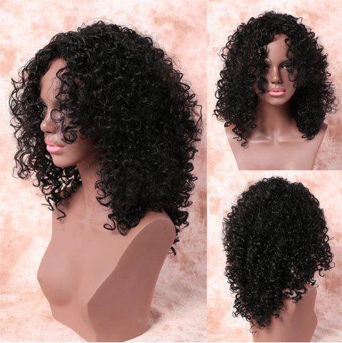 Discount Medium Fashionable Side Bang Black Afro Curly Women's Synthetic Hair Wig