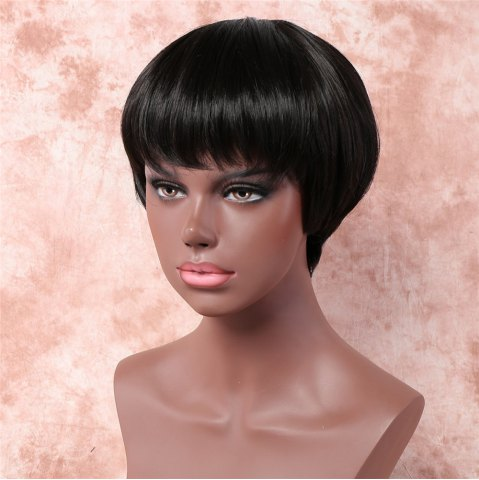 Outfit Vogue Ultrashort Full Bang Capless Short Straight Black Synthetic Wig For Women - BLACK  Mobile