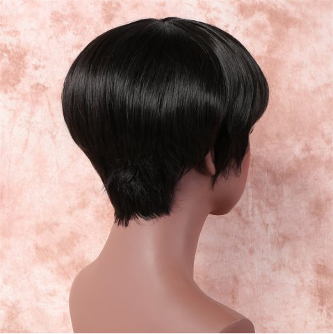 Store Vogue Ultrashort Full Bang Capless Short Straight Black Synthetic Wig For Women - BLACK  Mobile