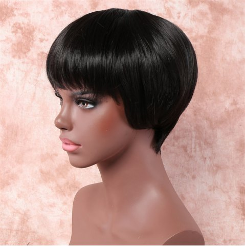 Chic Vogue Ultrashort Full Bang Capless Short Straight Black Synthetic Wig For Women - BLACK  Mobile