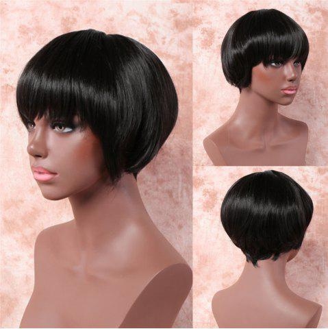 Unique Stylish Short Straight Bob Style Black Capless Synthetic Wig For Women - BLACK  Mobile