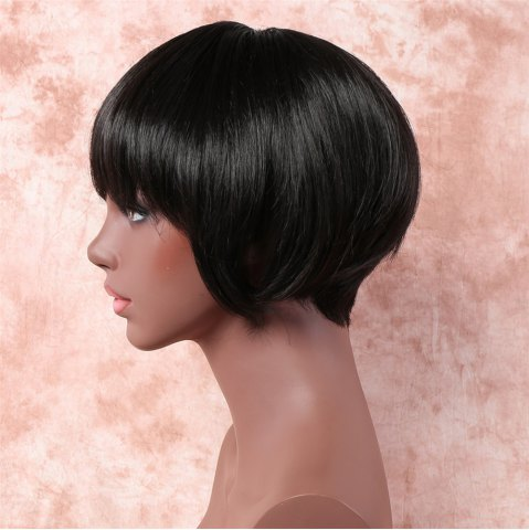 Outfit Stylish Short Straight Bob Style Black Capless Synthetic Wig For Women - BLACK  Mobile