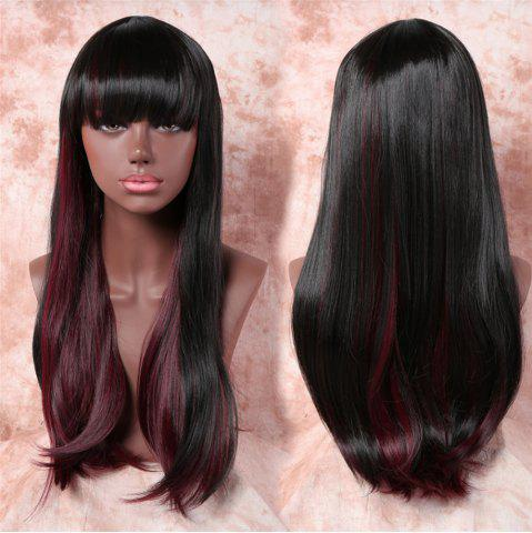 Trendy Trendy Full Bang Straight Capless Black Mixed Wine Red Long Synthetic Wig For Women - COLORMIX  Mobile