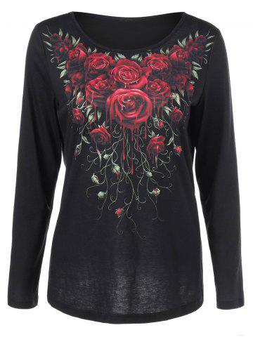 Chic 3d Rose Paint Drip Tee BLACK M