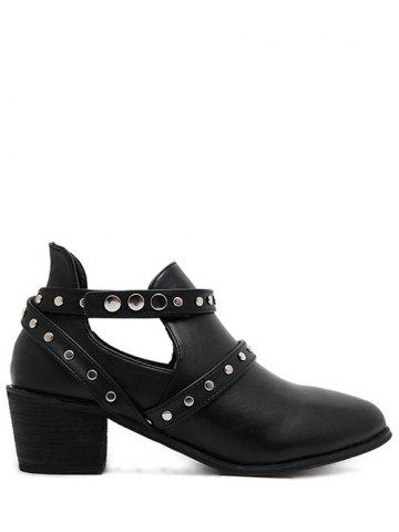 Unique Studded Cross Strap Cut Out Ankle Boots