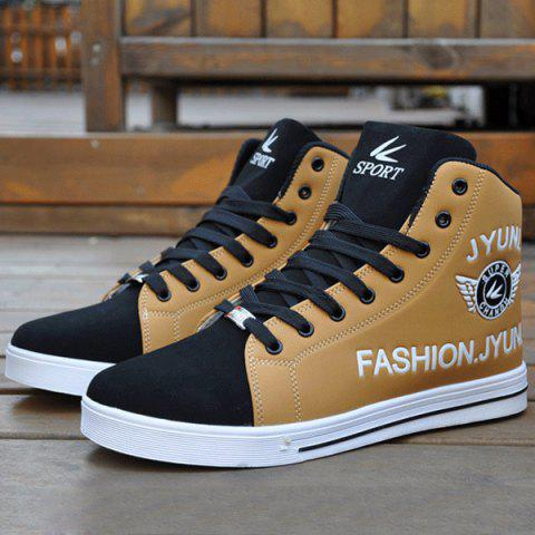 New High Top PU Leather Casual Shoes - 43 BLACK AND BROWN Mobile