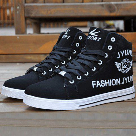 High Top PU Leather Casual Shoes - BLACK 40