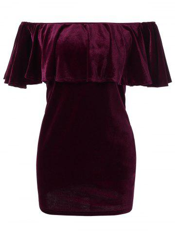 Trendy Off The Shoulder Flounce Velvet Dress