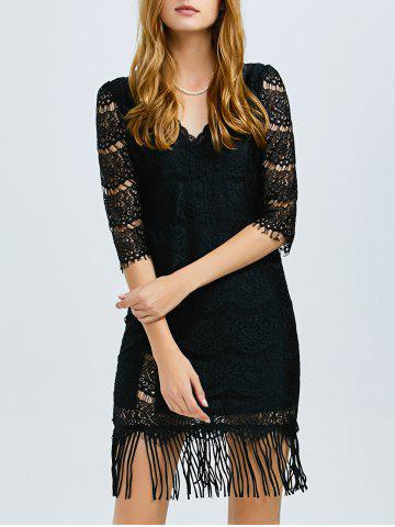 Outfit V Neck Lace Fringed Dress