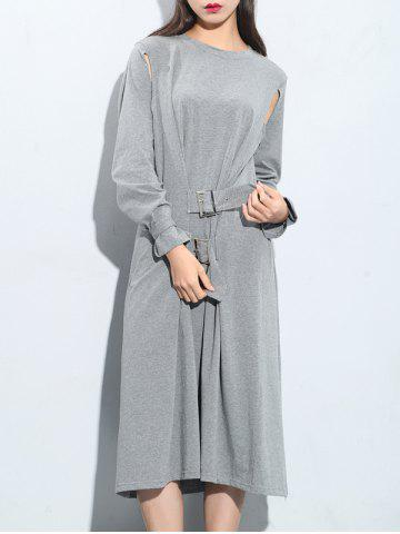 Affordable Cut Out Long Sleeve Knee Length Dress