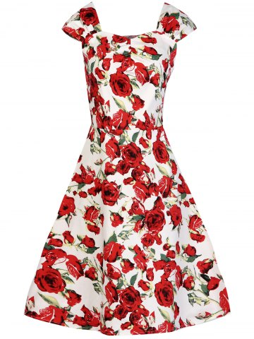 Cheap Retro Rose Floral Midi Dress