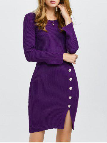 Chic Front Slit Bodycon Jumper Dress