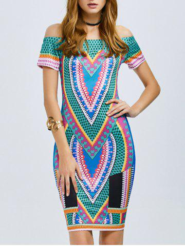 Best Tribe Printed Off The Shoulder Bodycon Dress