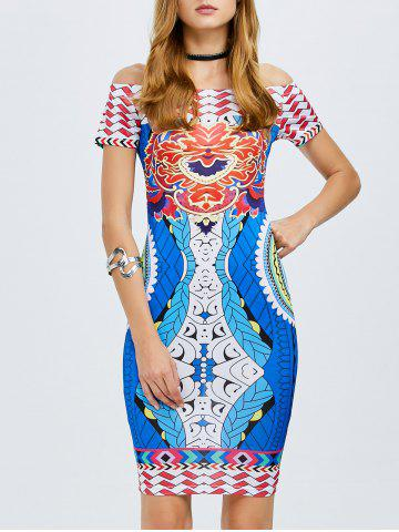 Buy Off The Shoulder Tribe Printed Bodycon Dress