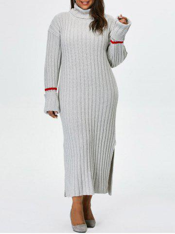 163591a5c3c4 Plus Size Turtleneck High Slit Maxi Sweater Dress