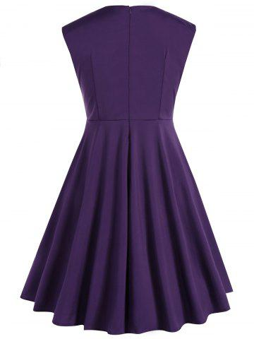 Latest Plus Size Vintage Sleeveless Swing Dress - 3XL PURPLE Mobile