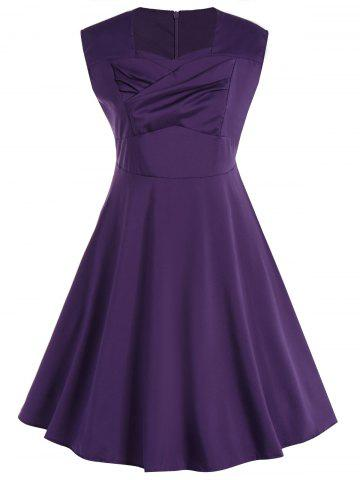Chic Plus Size Vintage Sleeveless Swing Dress - 3XL PURPLE Mobile