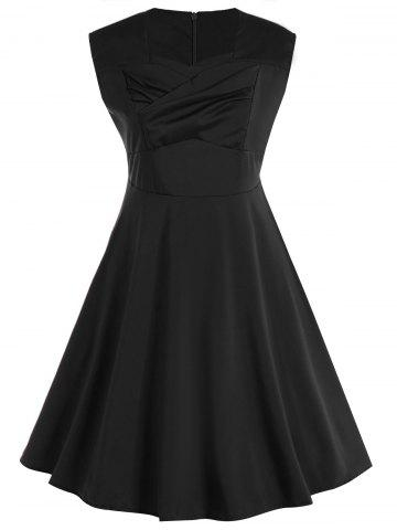 Hot Plus Size Vintage Sleeveless Swing Dress - 5XL BLACK Mobile
