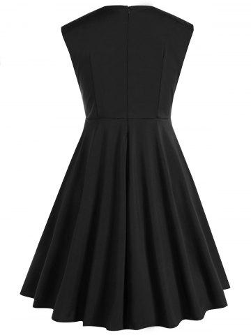 Fashion Plus Size Vintage Sleeveless Swing Dress - 5XL BLACK Mobile
