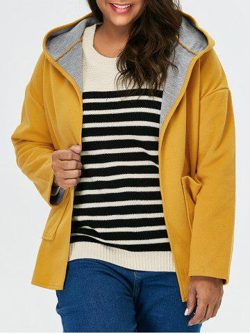Fashion Plus Size Open Front Jacket With Hood