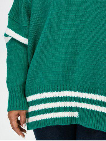 Outfits Plus Size V Neck Cricket Striped Sweater - 5XL GREEN Mobile